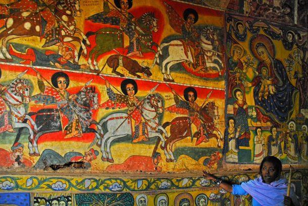 Frescos en el monasterio de Ura Kidane Mehret, lago Tana - viaje por la ruta histórica de Etiopía