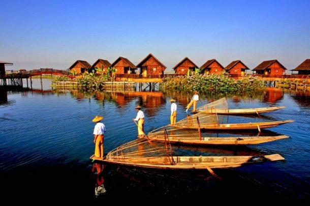 Navegación lago Inle-maravillas de myanmar