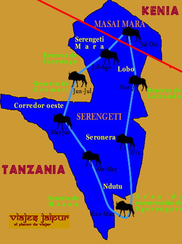 Mapa de la Gran Migración - Viaje a medida a Tanzania